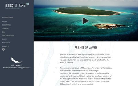 Screenshot of Home Page vamizi.com - Friends of Vamizi - Conservation & Community - captured July 10, 2017