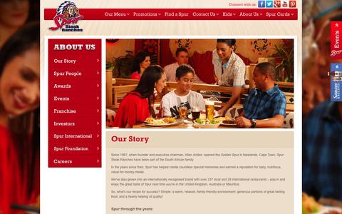 Screenshot of About Page spur.co.za - Our Story | Spur Steak Ranches - captured Jan. 21, 2016