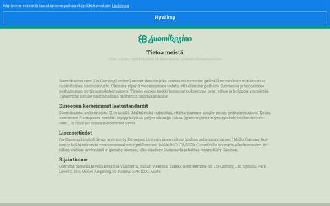 Screenshot of About Page suomikasino.com - Tietoa meistä – Kaikki mitä sinun tulee tietää   Suomikasino - captured Aug. 23, 2019