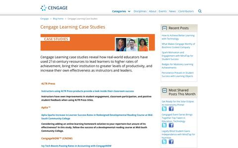 Screenshot of Case Studies Page cengage.com - Cengage Learning Case Studies - Cengage Blog - captured Aug. 4, 2017