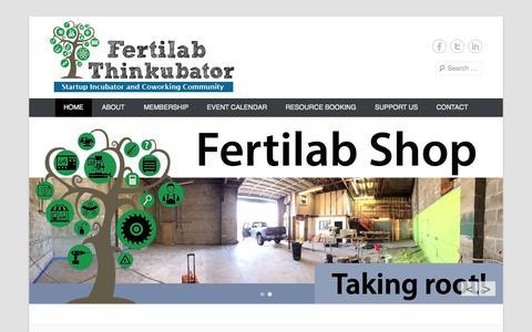 Screenshot of Home Page Menu Page fertilabthinkubator.com - Fertilab Thinkubator | Startup Incubator & Coworking Community | Empowering the entrepreneurs of Lane County - captured Sept. 30, 2014