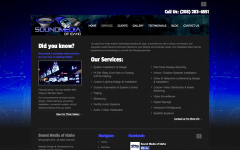 Screenshot of Services Page soundmediaid.com - Sound Media of Idaho - Services - captured Oct. 6, 2014