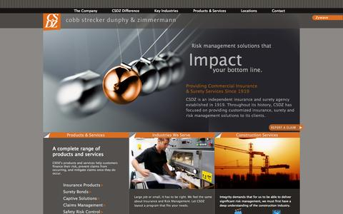 Screenshot of Home Page csdz.com - Design, Manufacturing, and Construction Insurance, Captives, and Risk Control - Cobb Strecker Dunphy & Zimmermann - captured Oct. 3, 2014