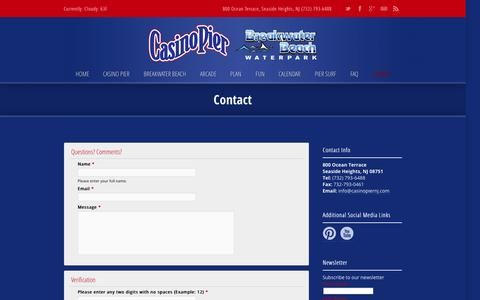 Screenshot of Contact Page casinopiernj.com - Contact › Casino Pier | Breakwater Beach ‹ Casino Pier | Breakwater Beach - captured Oct. 2, 2014