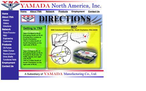 Screenshot of Maps & Directions Page yamadanorthamerica.com captured Sept. 30, 2014