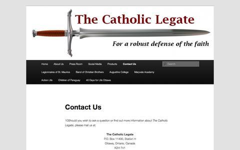 Screenshot of Contact Page catholic-legate.com - Contact Us | The Catholic Legate - captured June 14, 2016