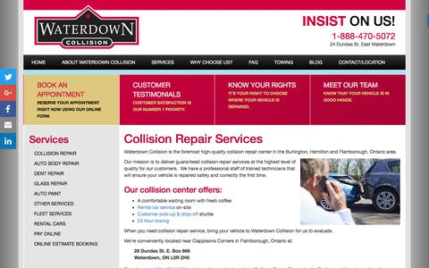 Screenshot of Services Page waterdowncollision.com - Waterdown Collision Centre | Collision Repair Service - captured Sept. 21, 2018