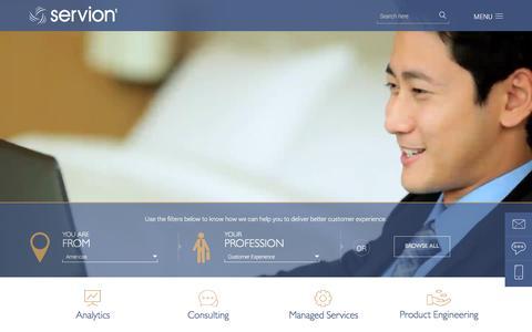 Screenshot of Home Page servion.com - Servion Global Solutions - captured Feb. 23, 2016