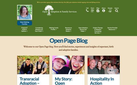 Screenshot of Blog openadopt.org - Open Page Adoption Blog - Adoption Stories from OA&FS - captured Oct. 19, 2018