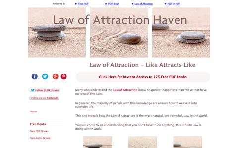 Screenshot of Home Page law-of-attraction-haven.com - The Law of Attraction: Like Attracts Like - captured Aug. 5, 2015
