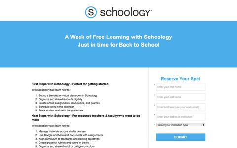 Screenshot of Landing Page schoology.com - Back to School Learning Events - captured Sept. 13, 2017