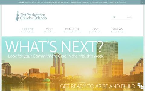Screenshot of Home Page fpco.org - First Presbyterian Church of Orlando - captured Oct. 6, 2014