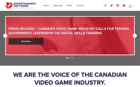 Screenshot of Home Page theesa.ca - Entertainment Software Association of Canada - captured March 6, 2016