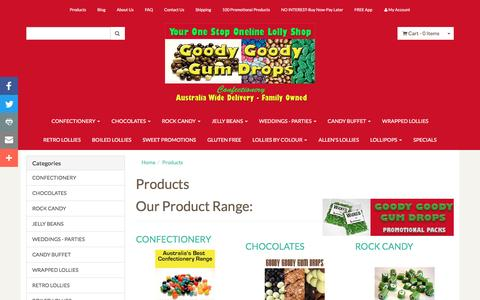 Screenshot of Products Page goodygoodygumdrops.com.au - Our product range - captured March 4, 2017