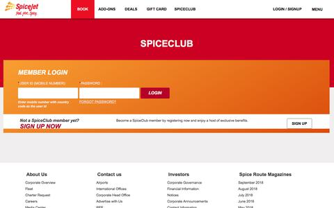 Screenshot of Login Page spicejet.com - Cheap Air Tickets Online, International Flights to India, Cheap International Flight Deals | SpiceJet Airlines - captured Sept. 21, 2018