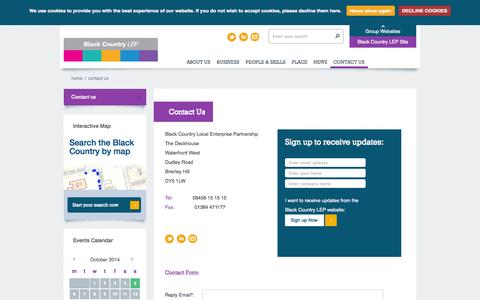Screenshot of Contact Page blackcountrylep.co.uk - Black Country LEP - captured Oct. 5, 2014