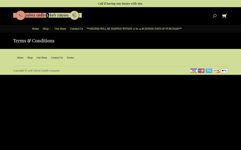 Screenshot of Terms Page galenacandle.com - Terms & Conditions   Galena Candle & Bath Company - captured Sept. 26, 2018
