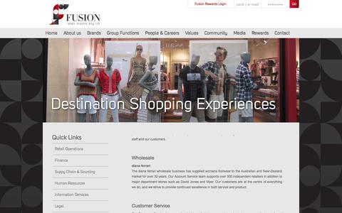 Screenshot of Support Page Terms Page fusionretailbrands.com.au - Fusion Retail Brands - Group Functions - captured Oct. 6, 2014