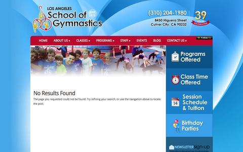 Screenshot of Press Page lagymnastics.com - News | Los Angeles School of Gymnastics - captured Nov. 1, 2014