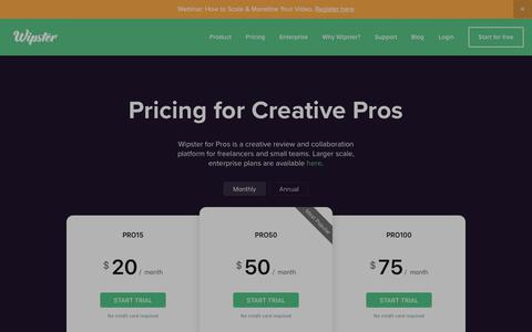 Screenshot of Pricing Page wipster.io - Pricing - captured July 6, 2019