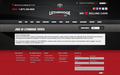 Screenshot of Jobs Page lethbridgetoyota.com - Lethbridge Toyota   New Scion, Toyota dealership in Lethbridge, AB T1J 4T9 - captured Oct. 2, 2014