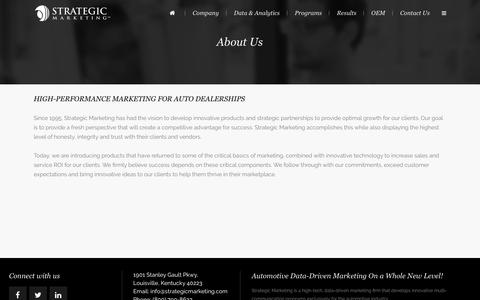 Screenshot of About Page strategicmarketing.com - Strategic Marketing | AUTOMOTIVE DIRECT MARKETING FOR AUTO DEALERSHIPS - captured Feb. 16, 2016
