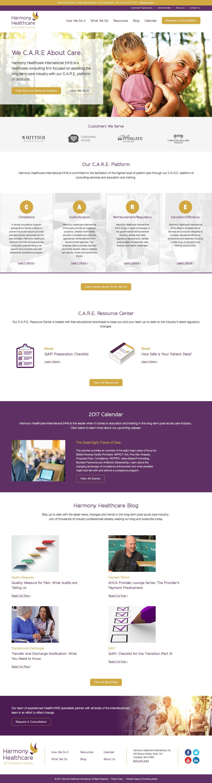 Screenshot of harmony-healthcare.com - Senior Care Consulting Services | Harmony Healthcare International - captured March 10, 2017