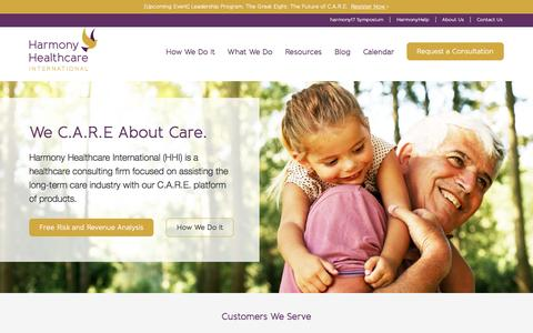 Screenshot of Home Page harmony-healthcare.com - Senior Care Consulting Services | Harmony Healthcare International - captured March 10, 2017