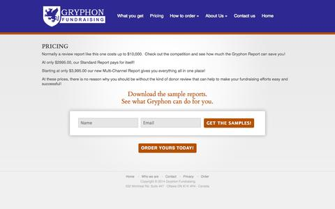 Screenshot of Pricing Page gryphonfundraising.com - Pricing | gryphonfundraising - captured Sept. 30, 2014