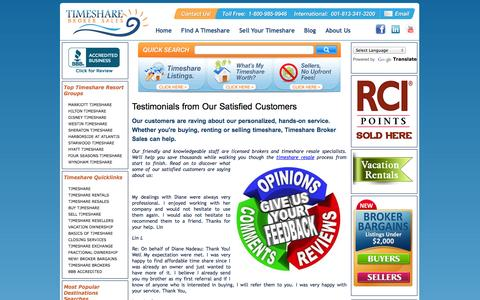 Screenshot of Testimonials Page timesharebrokersales.com - Client Testimonials - Timeshare Broker Sales - Our Clients are Raving - Timeshare Broker Sales Satisfied Customers - captured Sept. 17, 2014