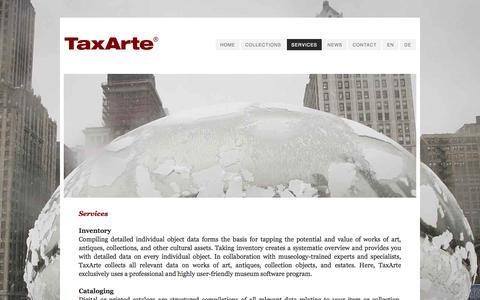 Screenshot of Services Page taxarte.com - TaxArte - Services - captured Oct. 26, 2014