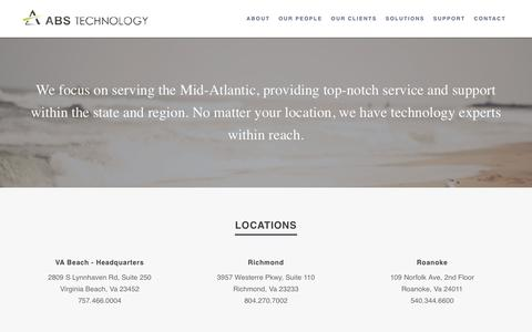 Screenshot of Contact Page absnt.com - Contact | Managed IT, Network Security & Cisco Solutions | Virginia | ABS Technology - captured Nov. 19, 2016