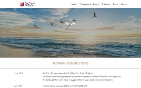 Screenshot of Press Page protherabiologics.com - Prothera Biologics News | ProThera Biologics - captured June 19, 2019