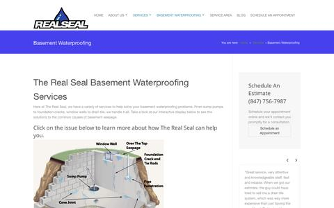 Screenshot of Services Page therealsealllc.com - Basement Waterproofing - Interior Basement Waterproofing - captured Feb. 28, 2016
