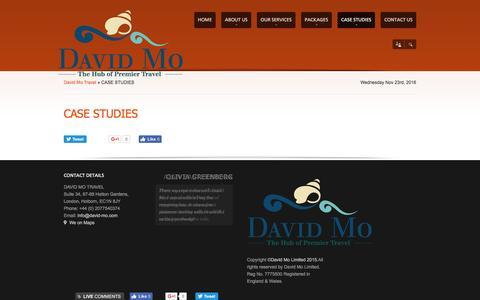 Screenshot of Case Studies Page david-mo.com - CASE STUDIES | David Mo Travel - captured Nov. 23, 2016