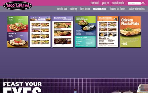 Screenshot of Menu Page tacocabana.com - Restaurant Menu | Taco Cabana - captured Sept. 19, 2014