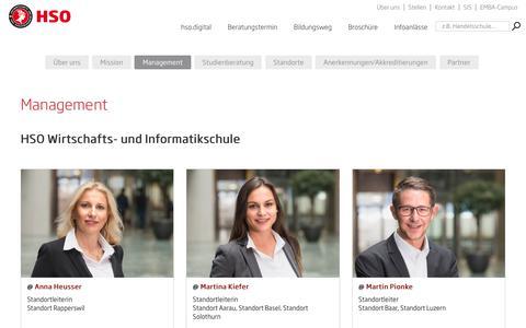 Screenshot of Team Page hso.ch - Management | HSO Wirtschaftsschule Schweiz - captured Nov. 9, 2018