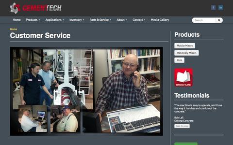 Screenshot of Support Page cementech.com - Customer Service   Cemen Tech - captured Oct. 2, 2014