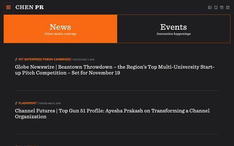 Screenshot of Press Page chenpr.com - News Archives | CHEN PR - captured Nov. 9, 2019