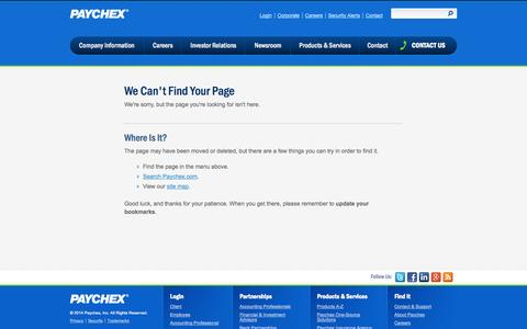 Screenshot of Support Page paychex.com - Client Employer Support | Contact - captured Oct. 29, 2014