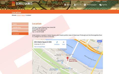 Screenshot of Locations Page schellgames.com - Schell Games   » Location - captured Sept. 30, 2014