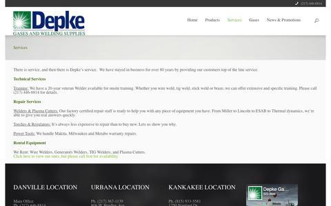 Screenshot of Services Page depke.com - Depke service. | Depke Welding - captured Nov. 28, 2016