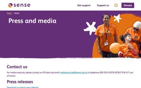 Screenshot of Press Page sense.org.uk - Media - captured Sept. 21, 2018
