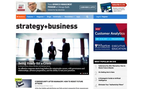 Screenshot of Home Page strategy-business.com - strategy+business: international business strategy news articles and award-winning analysis - captured May 23, 2017