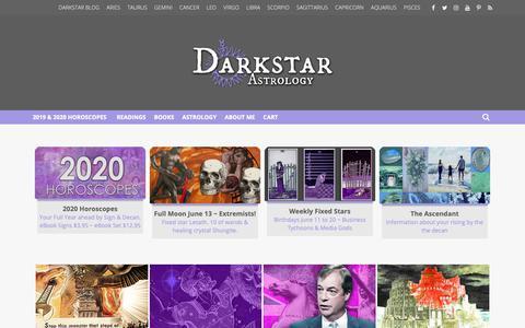 Screenshot of Home Page darkstarastrology.com - blogposts - Darkstar Astrology - captured June 14, 2019
