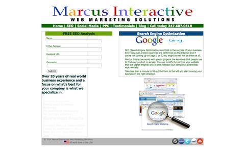 Screenshot of Landing Page marcusinteractive.com - SEO - Search Engine Optimization to grow your business - captured Oct. 27, 2014
