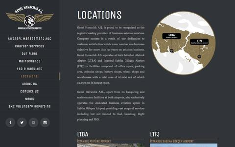 Screenshot of Locations Page genelhavacilik.com.tr - General Aviation Center -   Locations - captured Nov. 4, 2016