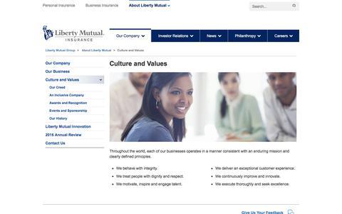 Culture and Values at LibertyMutualGroup.com