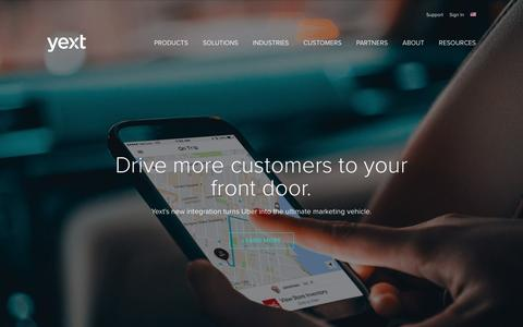 Screenshot of Home Page yext.com - Put your Business on the Map - Yext - captured Jan. 28, 2017