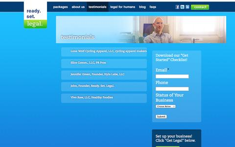 Screenshot of Testimonials Page readysetlegal.com - testimonials | Ready. Set. Legal.Ready. Set. Legal. - captured Oct. 26, 2014